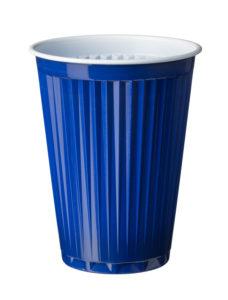 Koffiebekers 180cc blauw van LIMM Recycling samen met het recycling systeem voor een circulaire en duurzame economie.