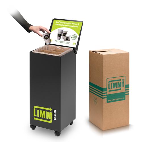 Het systeem van LIMM om efficiënt plastic koffiebekers verzamelen met de koffie-bekerbox van LIMM Recycling voor een circulaire en duurzame economie.